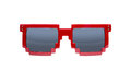 Pixelated sunglasses isolated on white Royalty Free Stock Photo