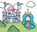 Pixelated videogame fantasy scenery Royalty Free Stock Photo