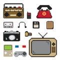 Pixels art item technology icon old Stock Photo