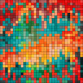 Pixels colored psychedelic geometric background