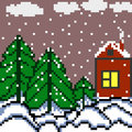 Pixels house and the forest winter landscape vector illustration Royalty Free Stock Photo