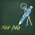 Pizarra stickman pen yes no Foto de archivo