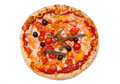 Pizza with anchovies and olives from above Royalty Free Stock Photo