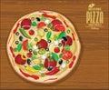 Pizza background retro vintage design illustration