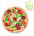 Pizza background retro vintage design vector illustration