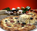 Pizza baked in wood oven Royalty Free Stock Photo