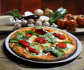 Pizza baked in wood oven Royalty Free Stock Photos