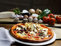 Pizza baked in wood oven Stock Photos