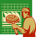 Pizza baker holding baking oven Royalty Free Stock Photos