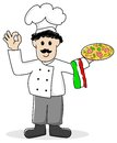 Pizza baker vector illustration of a cartoon Royalty Free Stock Photo