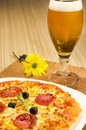 Pizza and beer Royalty Free Stock Photo
