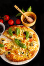 Pizza in black Stock Image