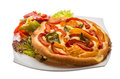 Pizza with bulgarian pepper round Royalty Free Stock Photo