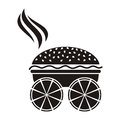 Pizza and burger black white delivery symbol Royalty Free Stock Images