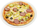 Pizza calabrese with flat sausage salami bacon ch cheese and mushrooms isolated Stock Images