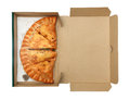 Pizza calzone in box isolate Royalty Free Stock Image