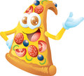 Pizza cartoon character smiling isolated Royalty Free Stock Photos