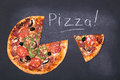 Pizza on chalkboard with the word written in chalk Royalty Free Stock Photos