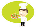 Pizza chef an illustration of a with Royalty Free Stock Photography