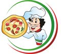 Pizza chef italian holding a Royalty Free Stock Image