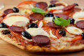 Pizza with chorizo salami and mozzarella Royalty Free Stock Photo
