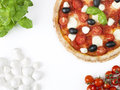 Pizza with colours of italian flag green white and red Royalty Free Stock Images