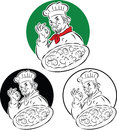 Pizza cook chef vector illustration of holding and doing excellent sign Royalty Free Stock Images