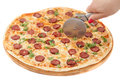 Pizza cutting isolated on white Royalty Free Stock Photo