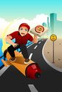 Pizza delivery guy deliver the pizza a vector illustration of using small rocket to Royalty Free Stock Photography