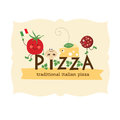Pizza design illustration of ingredients Stock Images