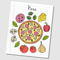 Pizza doodles lined paper illustration of colored on Royalty Free Stock Photos
