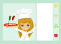 Pizza douce de portion de fille Image stock