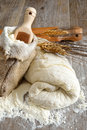 Pizza dough and bread leavened for made ​​with flour water yeast salt Stock Image