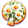Pizza with eggs and seafood watercolor painting on white background Stock Photography