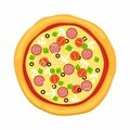 Pizza in flat style on white background. Icon food silhouette. Vector illustration