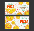 Pizza flyer vector template. Two Pizza banners. Gift Voucher