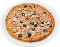 Pizza franciscana with tomatoes cheese ham and mushrooms isolated Royalty Free Stock Photo