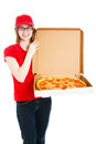 Pizza Girl Makes Delivery Royalty Free Stock Images