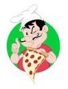 Pizza guy holding una rebanada Fotos de archivo libres de regalías