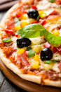 Pizza with ham and pepper Royalty Free Stock Images