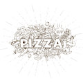 Pizza hand drawn title design vector black and white illustration Stock Images