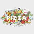 Pizza hand drawn title design vector colorful illustration Royalty Free Stock Photography