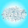Pizza hand drawn title design vector illustration blue color Stock Photo