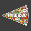 Pizza hand drawn title design vector illustration colorful Stock Images