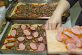 Pizza home in polish conditions the kitchen preparing a delicious italian delicacy cuisine Stock Image
