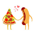 Pizza and hot dog love. Piece of pizza and sausage holding hands