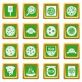 Pizza icons set green