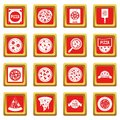 Pizza icons set red