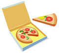 Pizza illustration of a delicious in box Royalty Free Stock Image