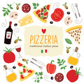 Pizza illustration tasty food italian and ingredients Royalty Free Stock Images